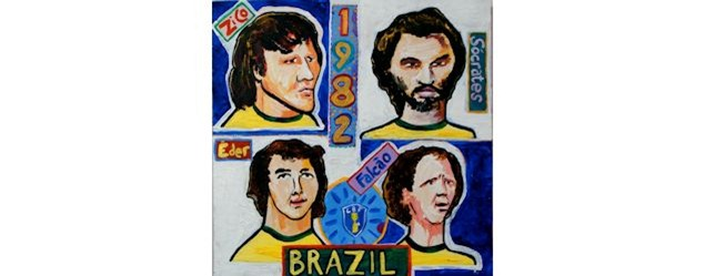 Tim Bradford's illustration of Brazil's classic 1982 squad.  Image courtesy of the artist.