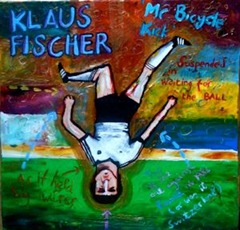Tim Bradford's take on West Germany striker Klaus Fischer.  Courtesty of the artist.