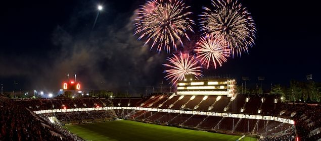 San Jose got an early start on the fireworks, scheduling their June 30th game against LA for the much larger Stanford Stadium and including a post-game fireworks show.  They sold over 50,000 tickets.  Credit: Michael Pimentel - ISIPhotos.com