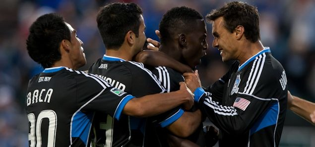 San Jose's Chris Wondolowski (far right).  Credit: Michael Burns - ISIPhotos.com
