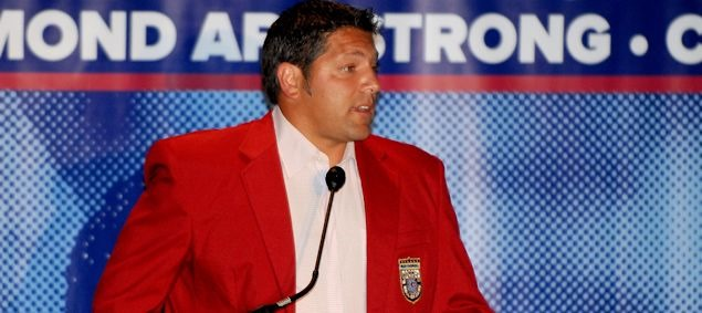 Tony Meola speaks during the 2012 National Soccer Hall of Fame induction ceremony at FedEx Field.  Credit: Jose L. Argueta