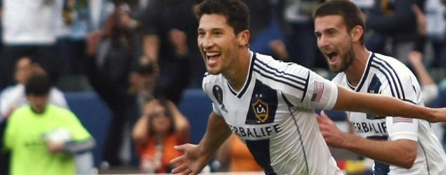 LA Galaxy defender Omar Gonzalez celebrates his equalizer in the 2012 MLS Cup.  La would go onto beat Houston 3-1 for their second consecutive title.  Credit: Tony Quinn - ISIPhotos.com