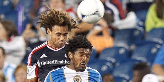 The Revs' Kevin Alston and the Union's Sheanon Williams on September 1st, 2012 at Gillette Stadium. The game ended scoreless.