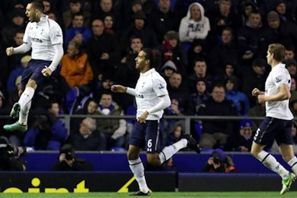 Clint Dempsey celebrates his goal during the Everton - Spurs game at Goodison Park on December 9th, 2012.  Credit: Matt West - ISIPhotos.com